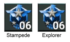 Stampede and Explorer emblems