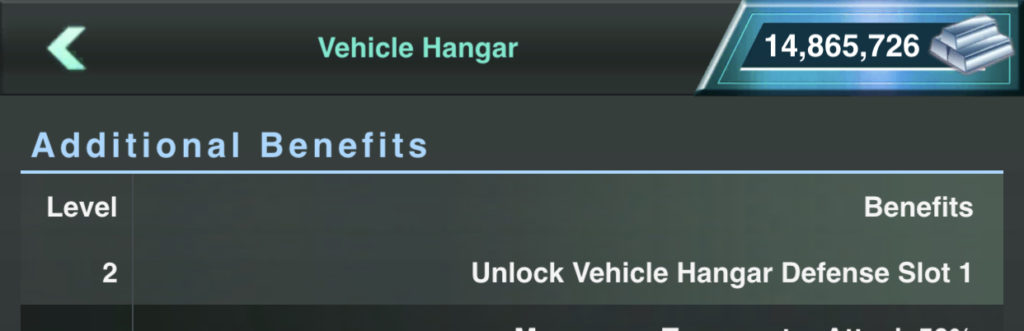 First Slot Open at Vehicle Hanger Lv 2