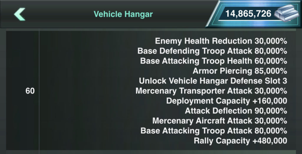 Third Vehicle Slot Opened at Vehicle Hanger Lv 60