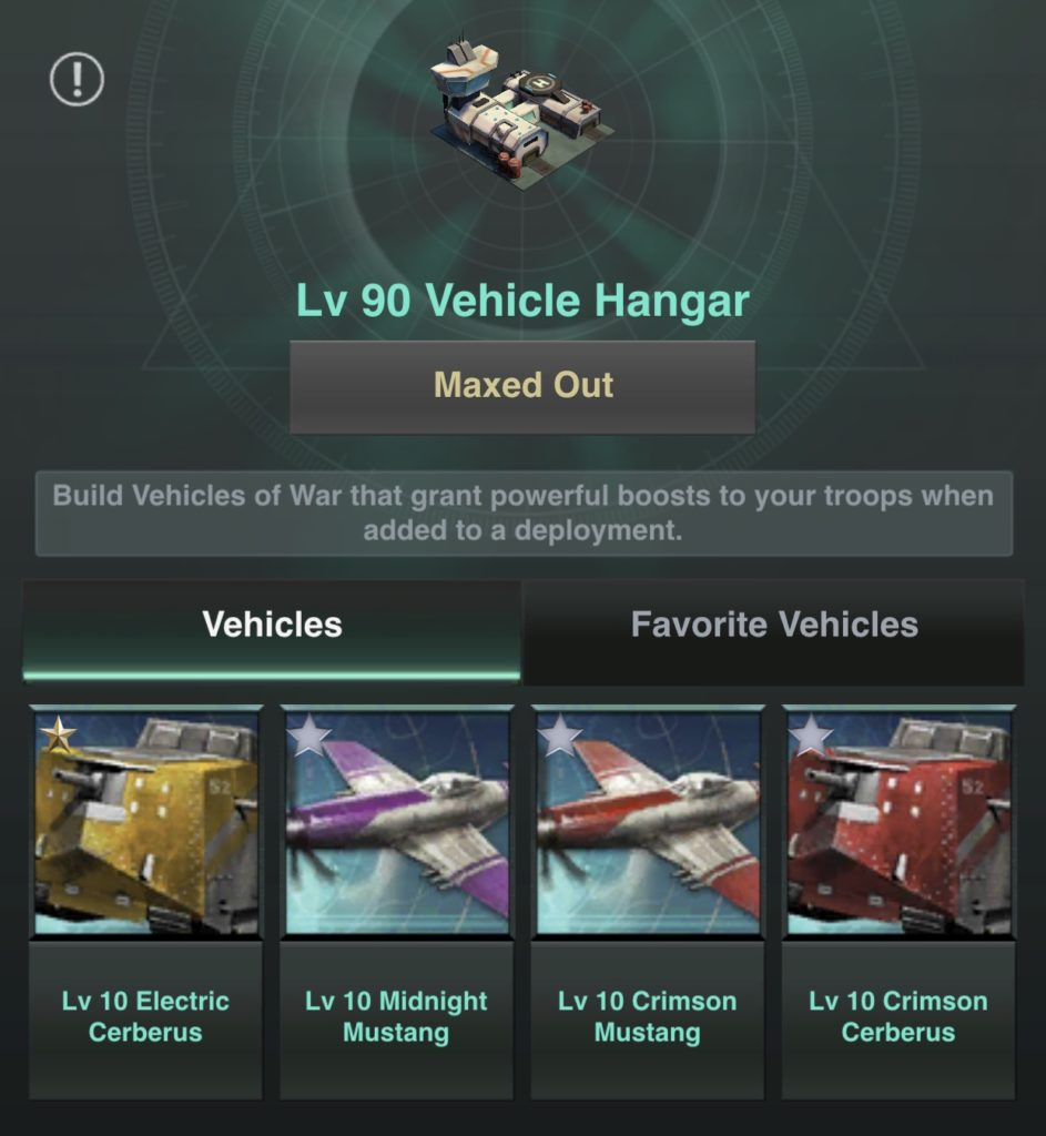 Vehicles in the Vehicle Hanger