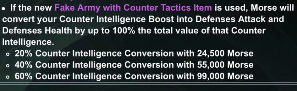 Convert Counter Intelligence to Attack and Health for Your Defenses