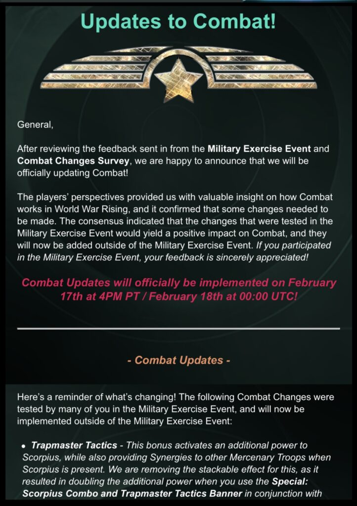 Update to Combat Changes Can Occur