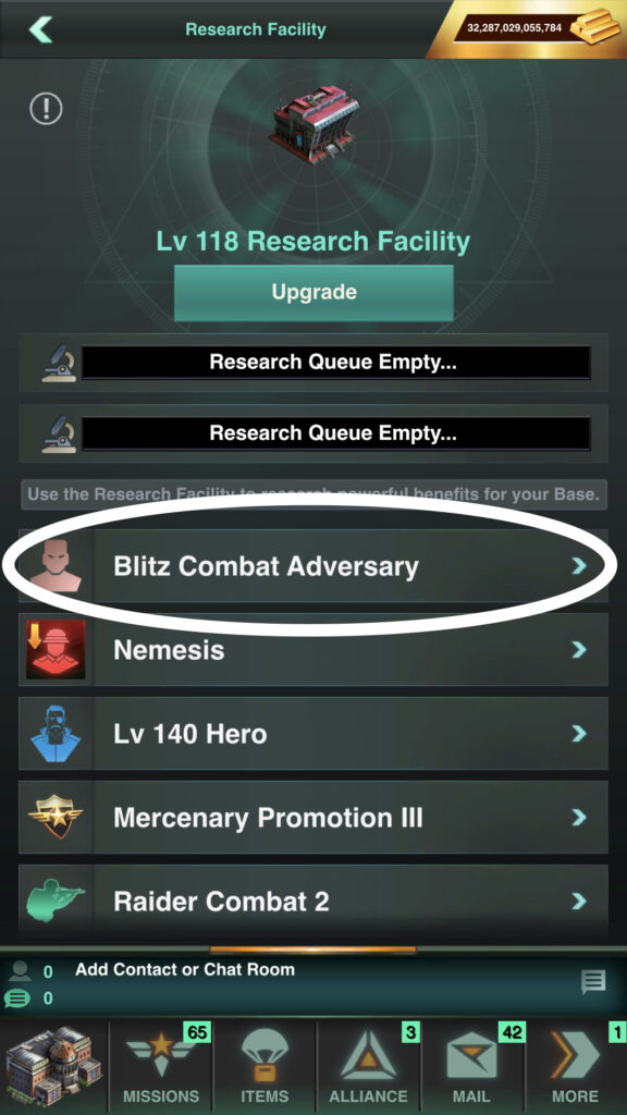 Blitz Combat Adversary Research is Listed First in the Research Facility, Currently