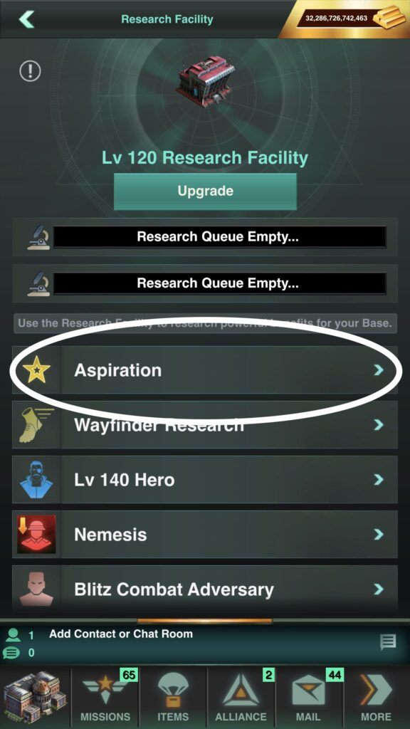 Aspiration Research Assists All with Growth and Tile Gathering