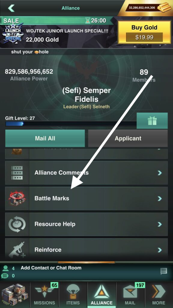 The Battle Mark List can be Viewed by Everyone in Your Alliance