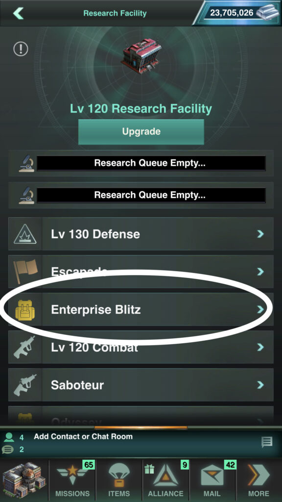 Enterprise Blitz Research can be found in your Research Facility