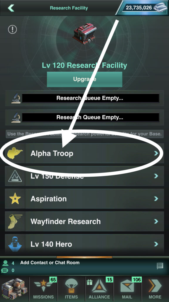 Alpha Troop Research can Be Found in Your Research Facility